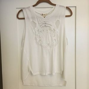 NWT Tiger Face White Tank Top, Size Large